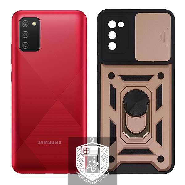 قاب ضد ضربه سامسونگ Galaxy A02s دارای هولدر و محافظ لنز کد SA507