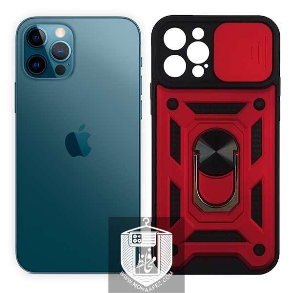 قاب ضد ضربه آیفون Iphone 12 Pro دارای هولدر و محافظ لنز کد IP718