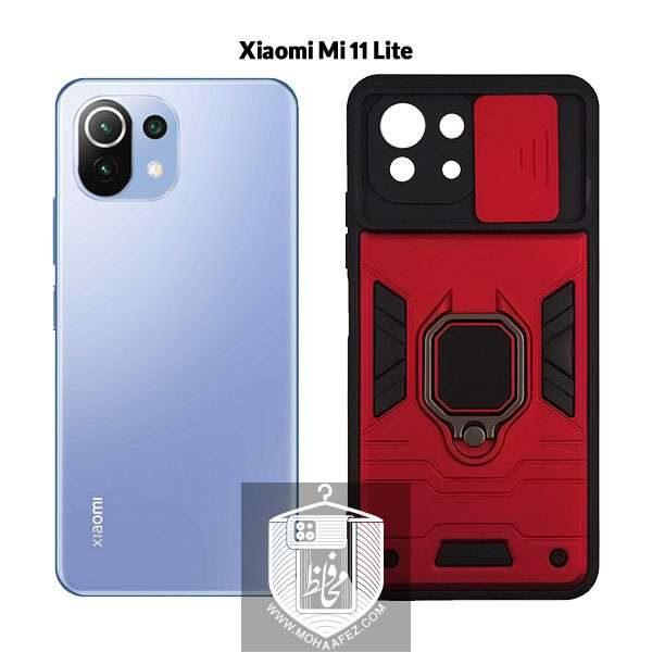 قاب ضد ضربه شیائومی MI 11 Lite هولدر دار و محافظ لنز کشویی کد MX01