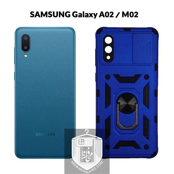 قاب ضد ضربه سامسونگ Galaxy A02 / M02 به همراه محافظ کشویی لنز و هولدر کد S03